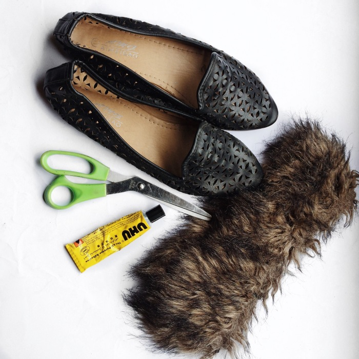 womens shoes, flat shoes, parisian look, diy, fur slides